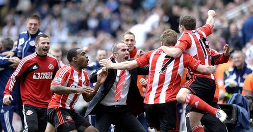 Boost: Sunderland's derby win last season helped them avoid the drop - and they need another victory over Newcastle on Sunday, says Phillips