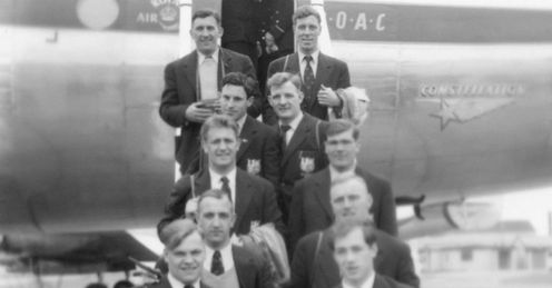 1955 - The British Lions Rugby Team at London Airport. From left to right top to bottom - Alun Thomas and Haydn Morris; Cliff Morgan and Trevor Lloyd; Courtenay Meredith and Brin Meredith; Billy Williams and Rhys Williams; Russ Robins and Clem Thomas.