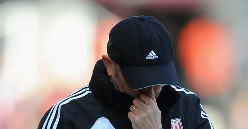 Pulis: looking forlorn after Stoke lose at home to Aston Villa