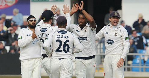 Chris Jordan Sussex celebrating a wicket against Yorkshire