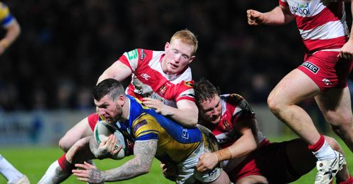 RUGBY LEAGUE STOBART SUPER LEAGUE HEADINGLEY CARNEGIE Liam Farrell Wigan Warriors Brett Delaney