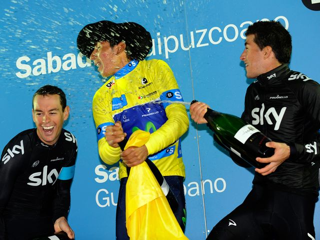 Porte and Henao celebrate with Nairo Quintana