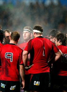 Crusaders huddle with Kieran Read in the middle