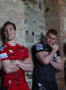 George North Ian Evans and Adam Jones standing