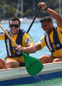 Hurricanes duo James Marshall and Victor Vito paddling