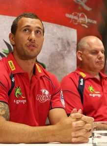 Quade Cooper and Ewen McKenzie at a press conference