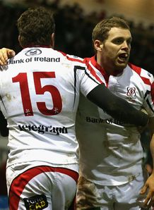 Ulster celebrate Darrenn Cave Jared Payne