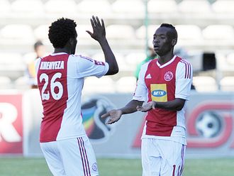 Khenyeza and Billiat celebrate Ajax&#39;s opener