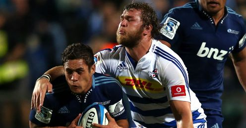 Jackson Willison tackled by Duane Vermeulen Blues v Stormers Round 12 2013