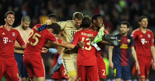 Bayern Munich celebrate at the final whistle after beating Barcelona 7-0 on aggregate