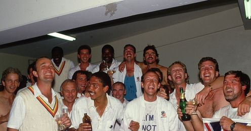 Their song: Gatting's winners warm up for an evening with Elton after retaining the Ashes