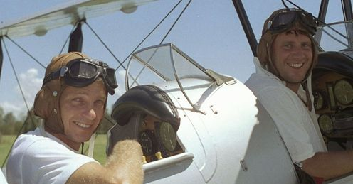 Flight of fancy: Gower and Morris tried to lift the tension on the 1990/91 with some high jinks