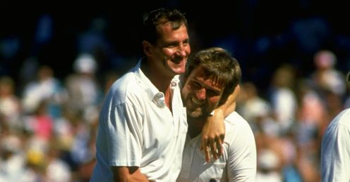 Winners in arms: John Emburey and Mike Gatting celebrate Ashes glory