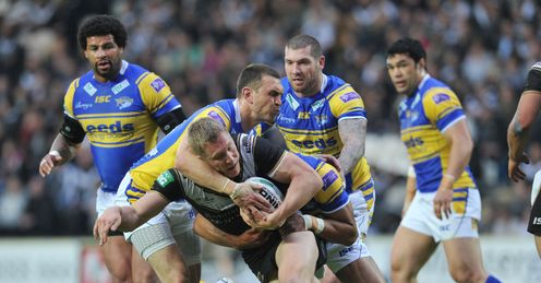 RUGBY LEAGUE SUPER LEAGUE HULL FC V LEEDS RHINOS KC STADIUM Chris Green Kevin Sinfield
