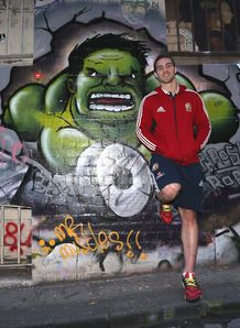 George North Lions poses with street art graffiti
