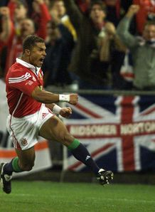 Jason Robinson celebrating his try in first Test of 2001 Lions series