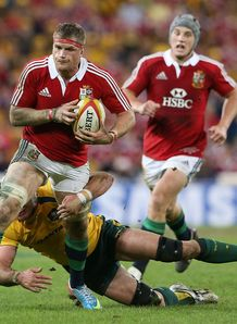 Lions number eight Jamie Heaslip on a run