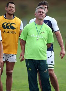 Springbok coach Heyneke Meyer with his players
