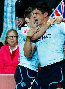 Tom Carter try celebrations Lions v Waratahs
