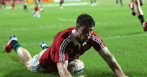 Alex Cuthbert scoring for the Lions