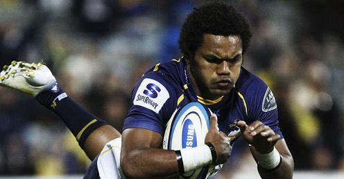 Brumbies wing Henry Speight diving over