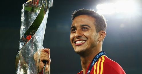 Thiago: Celebrates after captaining Spain to the title