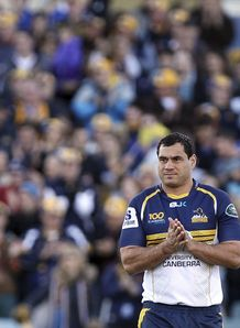 Brumbies flanker George Smith in front of fans