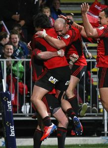 Crusaders celebrating a try