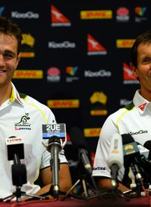 James Horwill and Robbie Deans happy at press conference