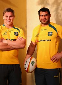 Michael Hooper standing alongside George Smith