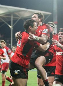 CRUSADERS CELEBRATE V REDS SUPER RUGBY