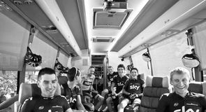 It was all smiles on the bus on the way to Versailles for the start of stage 21