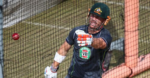 David Warner: in the nets ahead of the third Test at Old Trafford