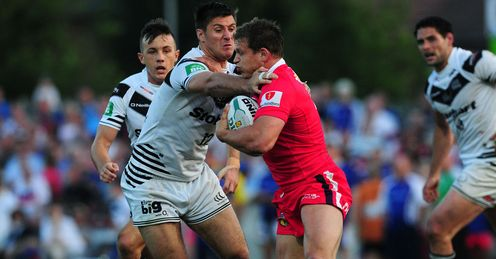 Peter Fox Wakefield tackled by Dave Allen Widnes 2013