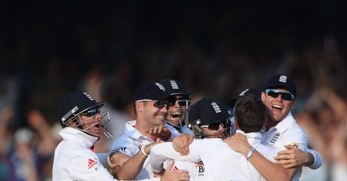 Success: England celebrate Test win