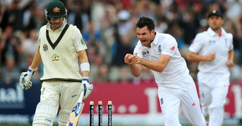 'Jaffa': Anderson celebrates the wicket of Michael Clarke