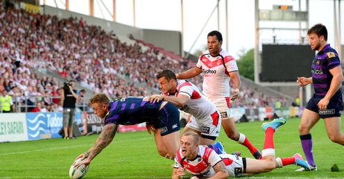 RUGBY LEAGUE SUPER LEAGUE LANGTREE PARK Jose Charnley Wigan Warriors Jon Wilkin St Helens