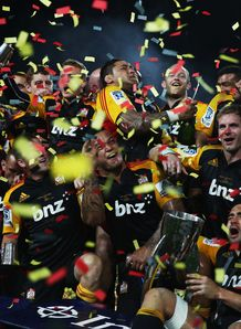 Chiefs begin on pitch celebrations with Super Rugby trophy