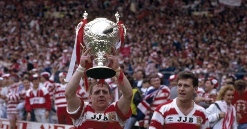 Andy Gregory lifting the Challenge Cup trophy