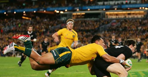 BEN SMITH TRY AUSTRALIA V NEW ZEALAND RUGBY CHAMPIONSHIP