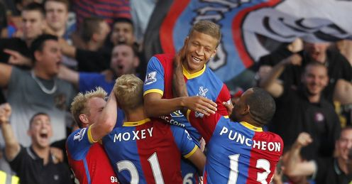 Dwight Gayle: celebrates with his Palace team-mates