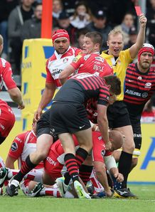 Nick Wood Gloucester is shown red card first minute by referee Wayne Barnes v Saracens