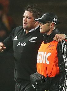 Richie McCaw limping off for All Blacks