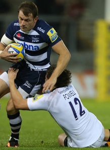 Sale v Newcastle Mark Cueto tackled by Adam Powell