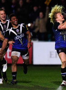 Tom Biggs after scoring for Bath