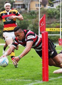 Toni Pulu scores a try Counties Manukau v Waikato