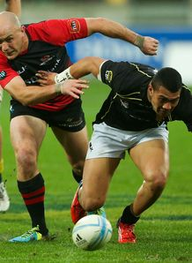 Willi Heinz of Canterbury and Ardie Savea of Wellington compete