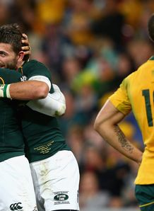 Willie le Roux celebrates try for Springboks