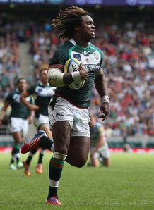 Marland Yarde London Irish scoring against Saracens at Twickenham