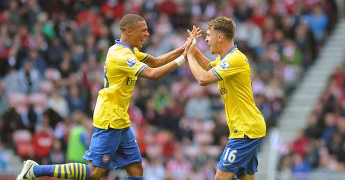 Kieran Gibbs (left) a rising star in the Arsenal defence